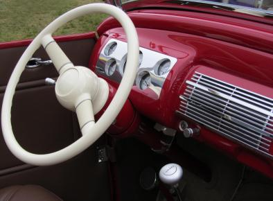 White Steering Wheel in Pink Classic Car